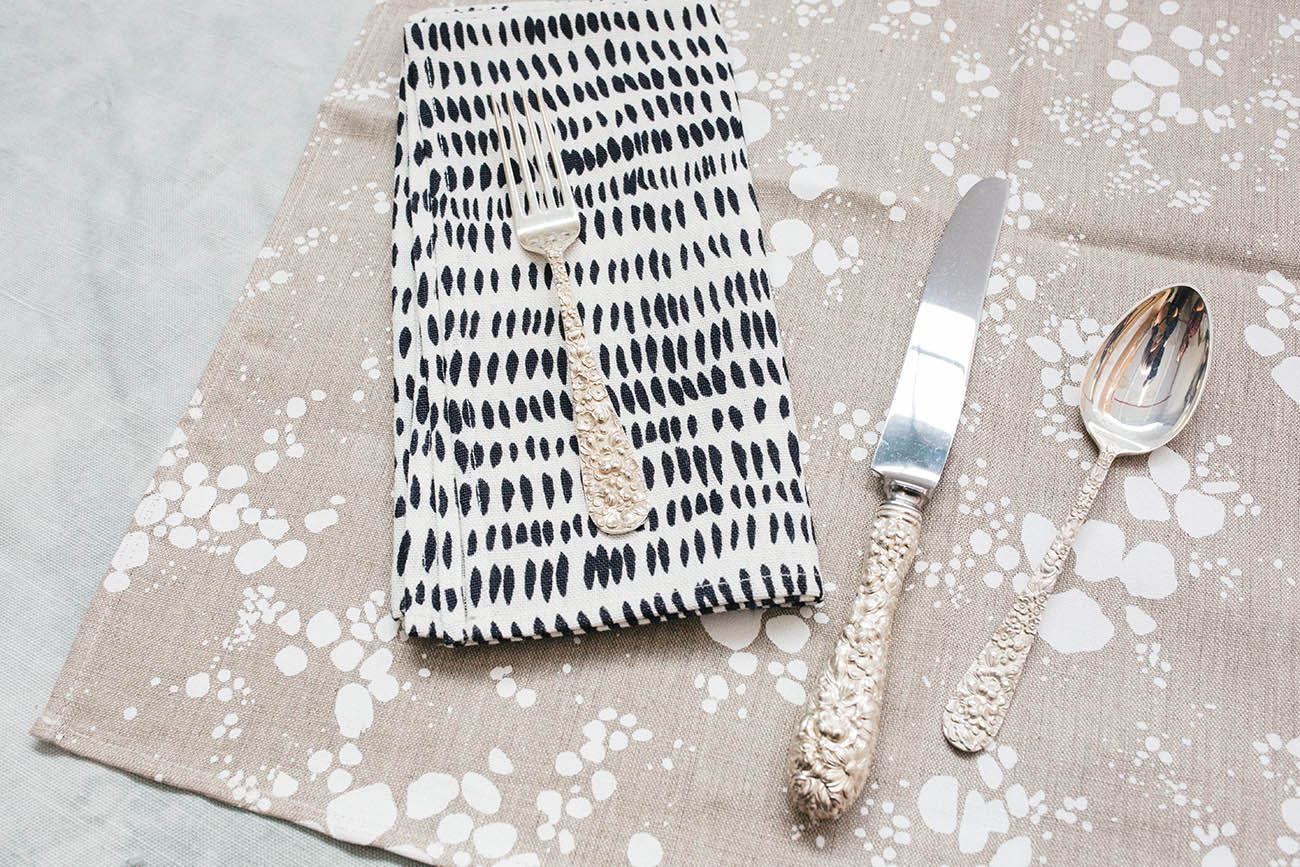 Rebecca Atwood | Setting The Table for the Holidays | Neutral Patterned Napkins