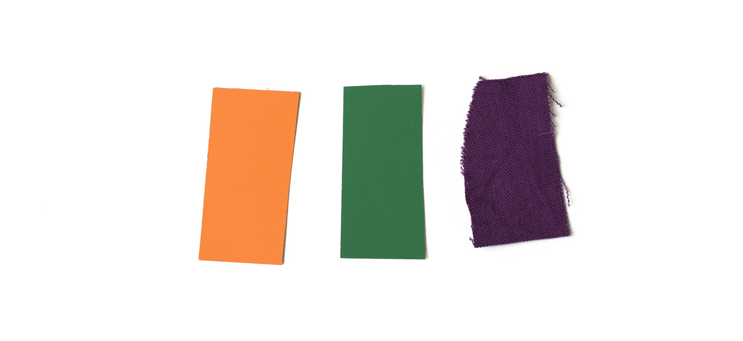 secondary colors: orange, green and purple