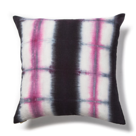 Grid Shibori Pillow in Navy & Pink