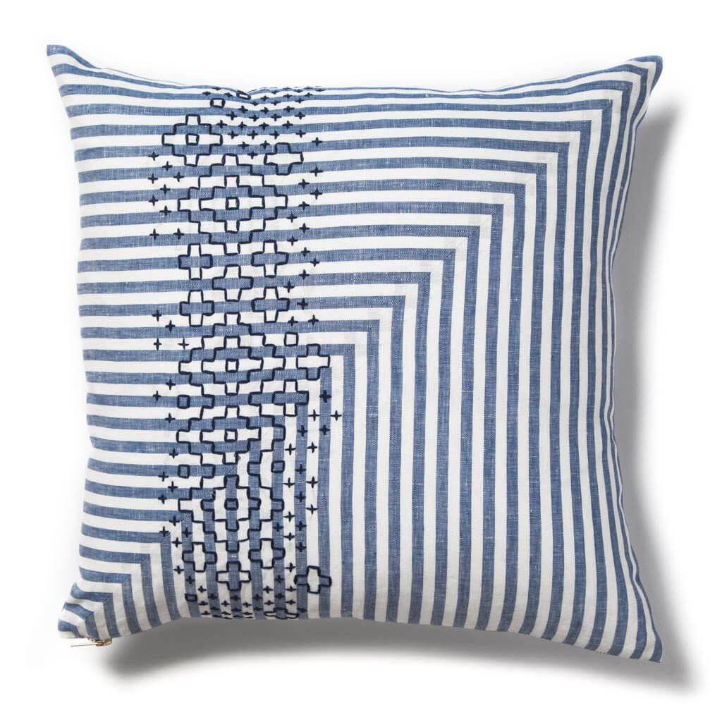 Stripe Sashiko Stitch Pillow II