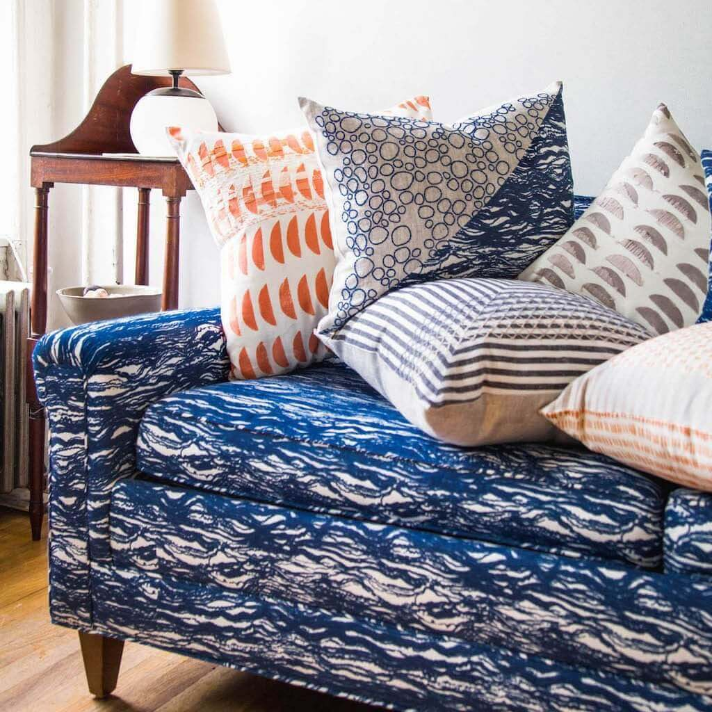 Waves Fabric in Blauvelt Blue