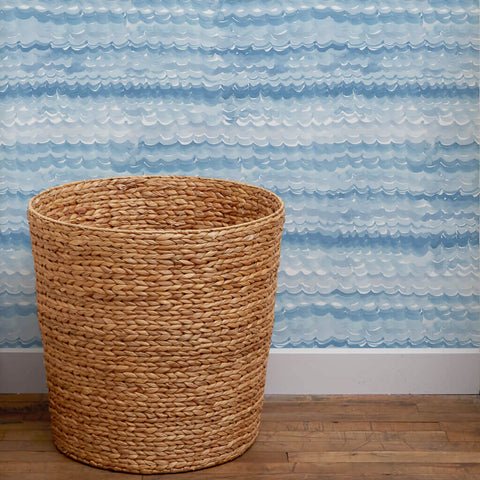 Oceanwave Wallpaper in Ocean Blue - 5 Yards