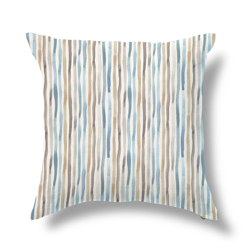 "Perennial Blooms Outdoor Pillow Cover in Gray/Blue 20""x20"" - Pre-Order"