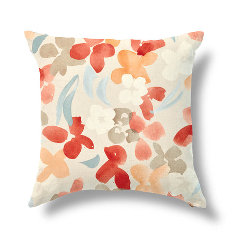 "Perennial Blooms Outdoor Pillow Cover in Multi Tomato 20""x20"" - Pre-Order"