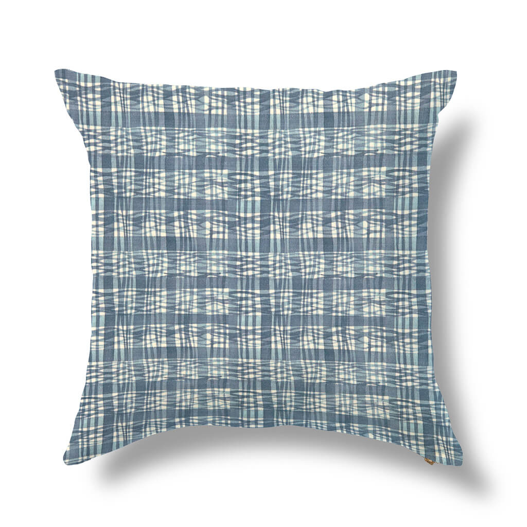 "Thatched Outdoor Pillow Cover in Lake Blue 20""x20"" - Pre-Order"