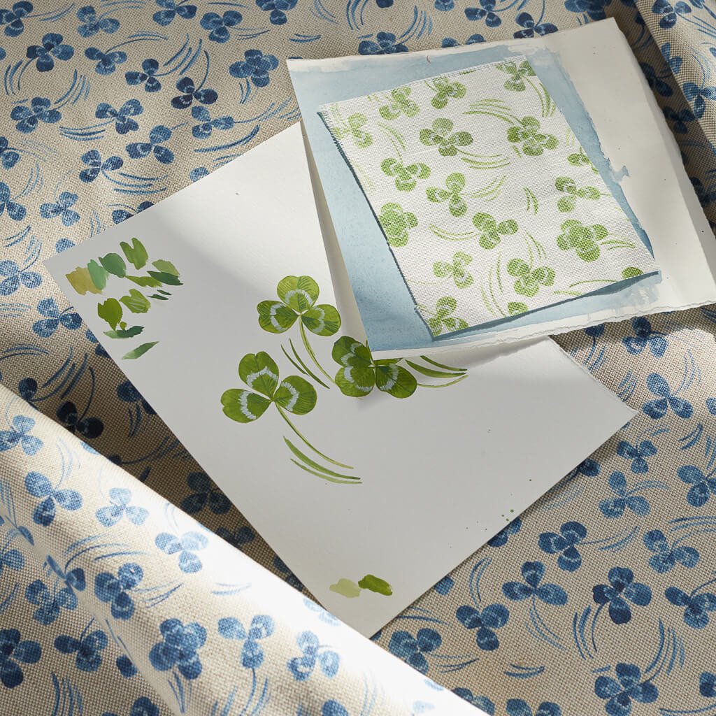 Clovers Fabric in Blue/Oatmeal