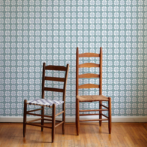 Shibori Geo Wallpaper in Moss Green