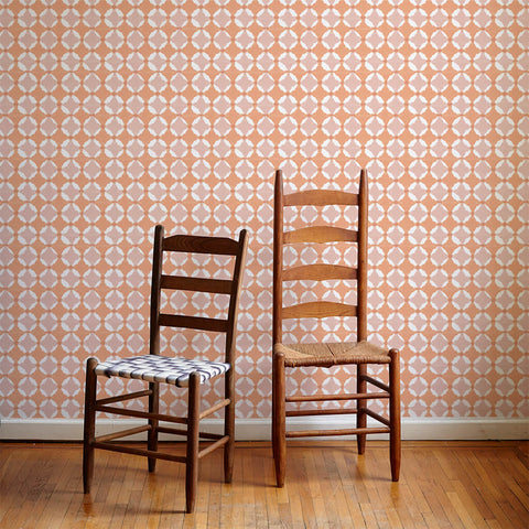 Shibori Geo Wallpaper in Tangerine