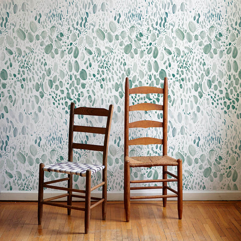 Blooms Wallpaper in Soft Green - 4 Yards