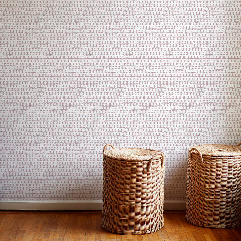 Circle Stripe Wallpaper in Taupe