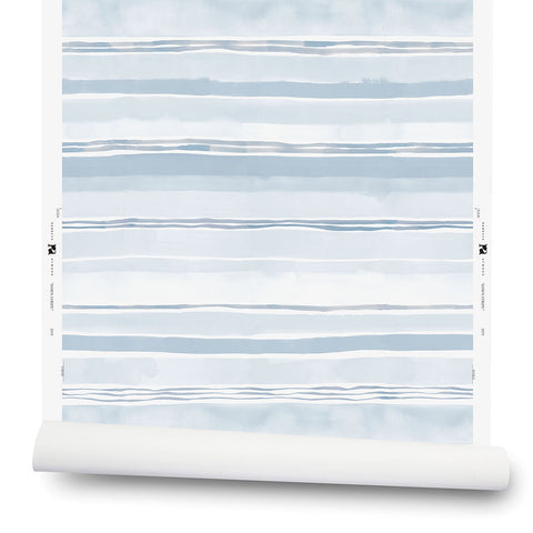 Dawn Stripe Wallpaper in Blue Fog