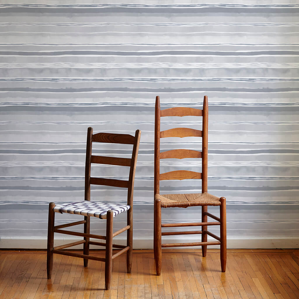 Dawn Stripe Wallpaper in Gray