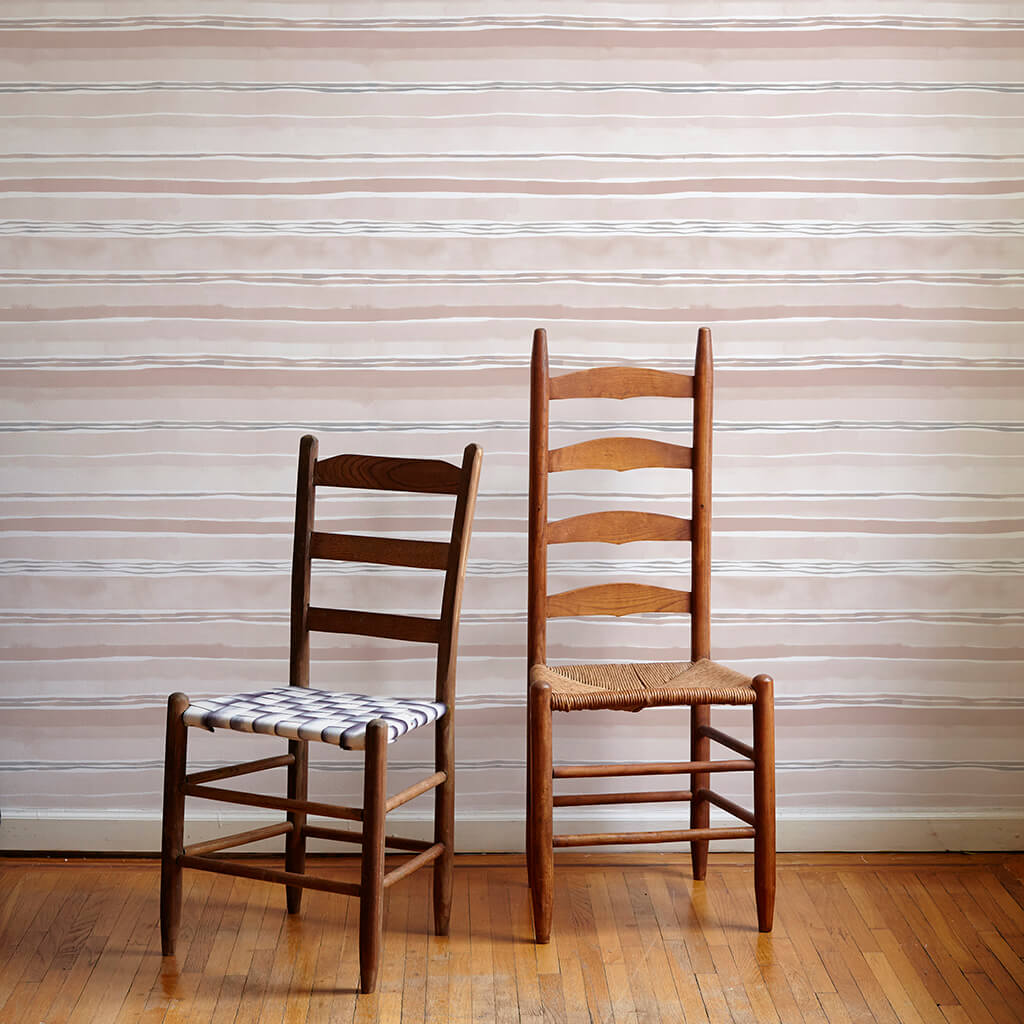 Dawn Stripe Wallpaper in Taupe - 3 Yards