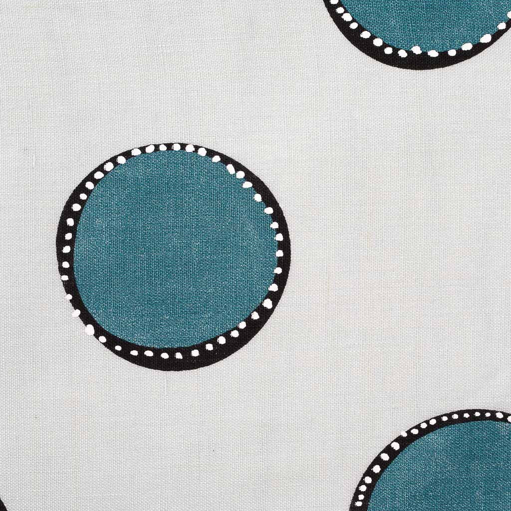 Dotted Circles Fabric in Ice & Marine