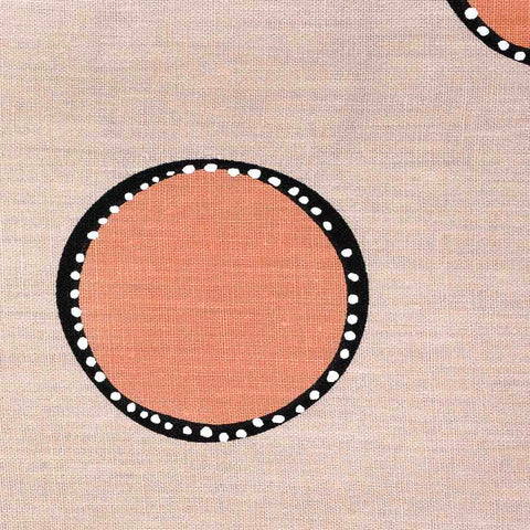 Dotted Circles Fabric in Tan & Tangerine