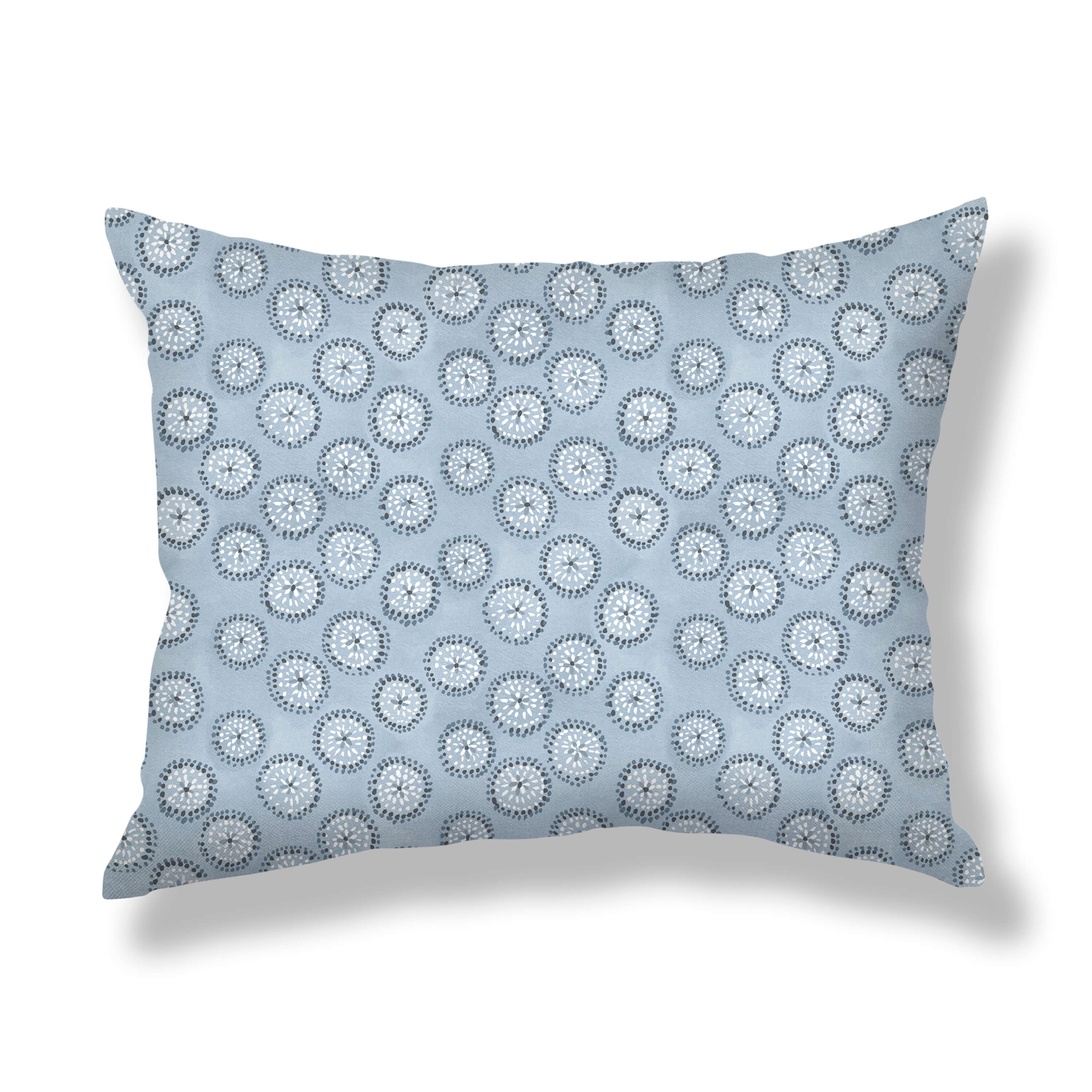 Dotted Floral Pillows in Blue-Gray