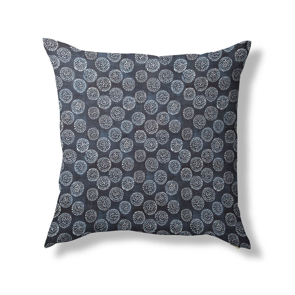 Dotted Floral Pillow in Navy