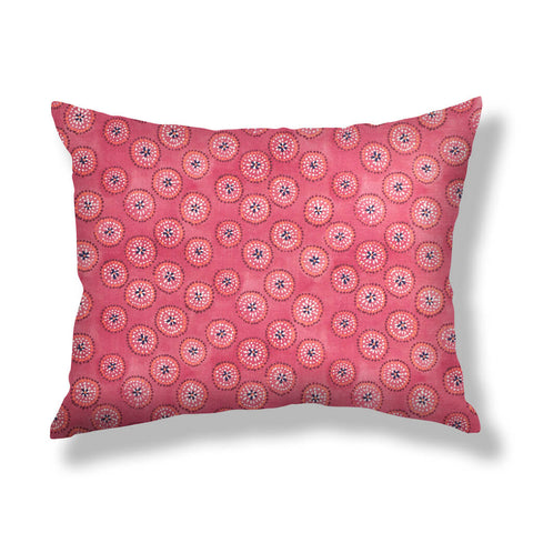 Dotted Floral Pillows in Ruby