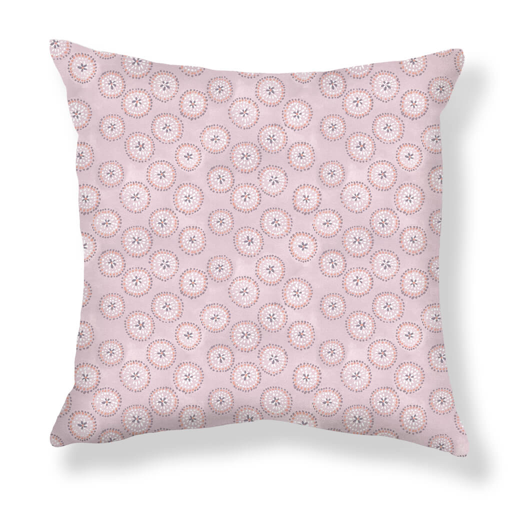 Dotted Floral Pillows in Pale Mauve