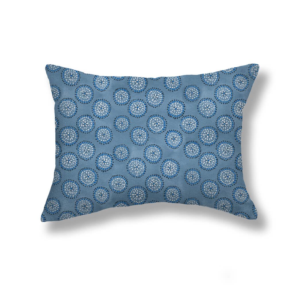 Dotted Floral Pillows in Chambray Blue