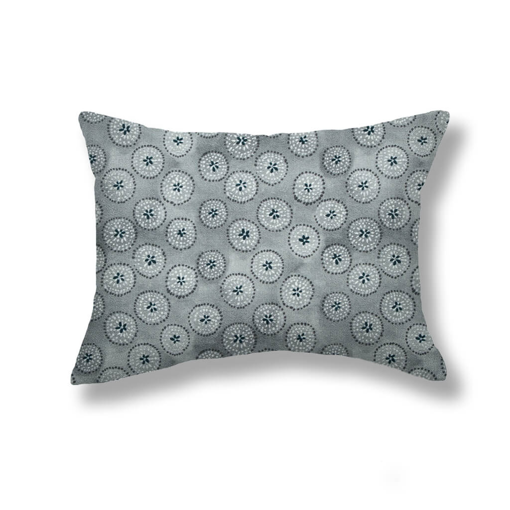 Dotted Floral Pillows in Gray