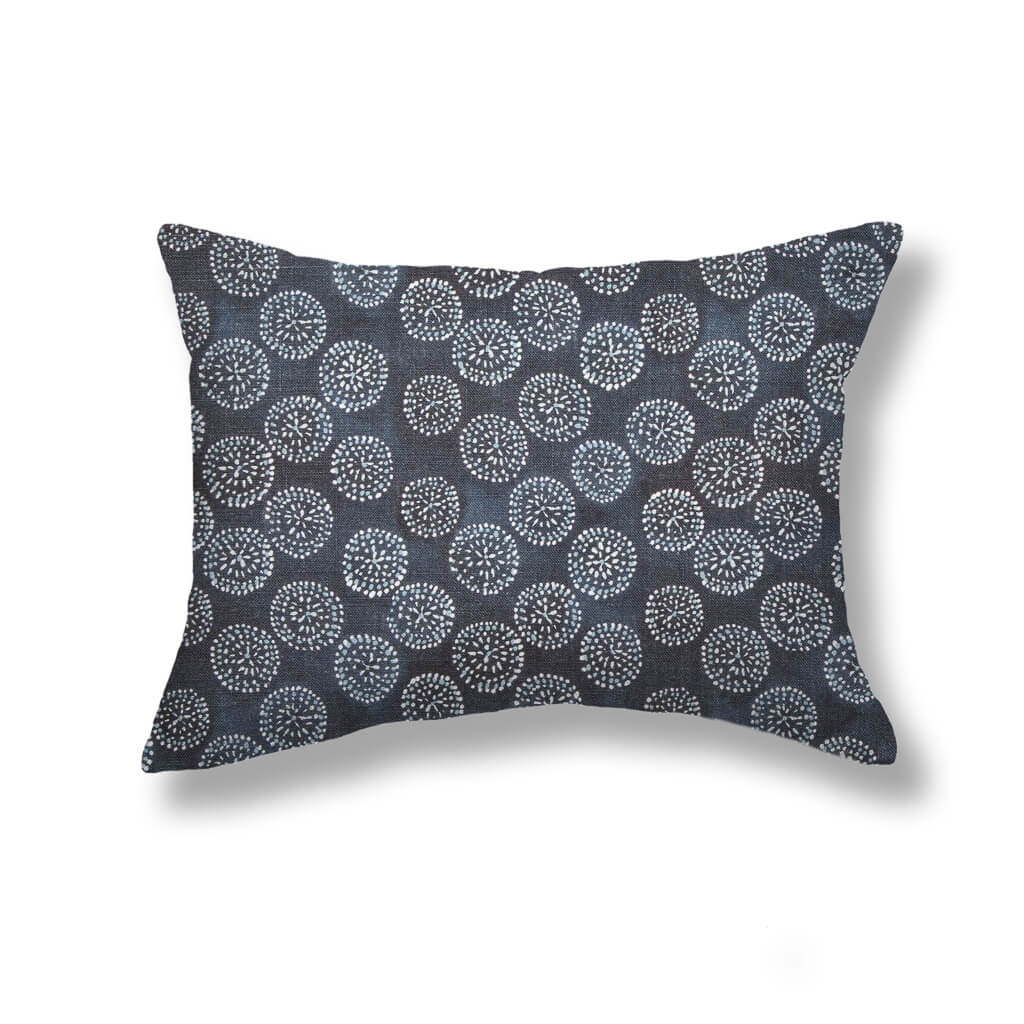 Dotted Floral Pillows in Navy