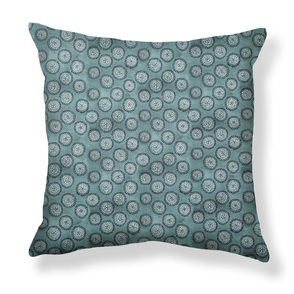 Dotted Floral Pillows in Storm Blue