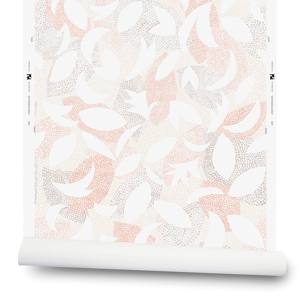 Dotted Leaves Wallpaper in Blush/Taupe