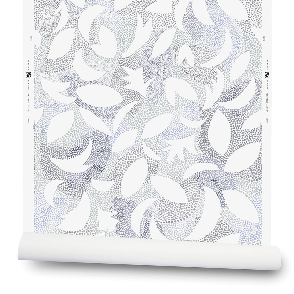 Dotted Leaves Wallpaper in Gray-Lilac - 2 Yards