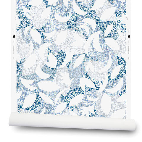 Dotted Leaves Wallpaper in Ocean Blue