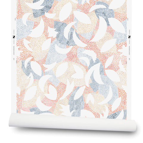 Dotted Leaves Wallpaper in Peach / Blue