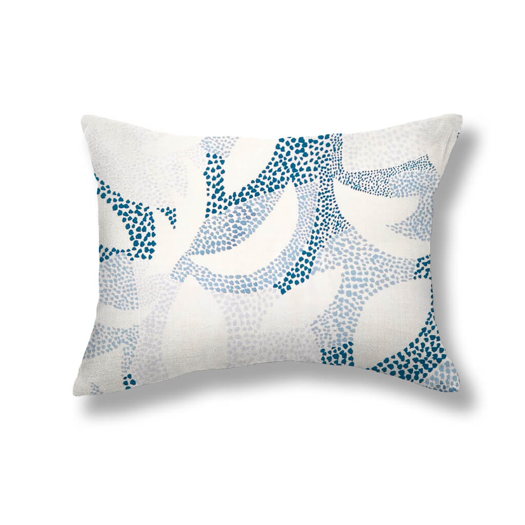 Dotted Leaves Pillows in Ocean Blues