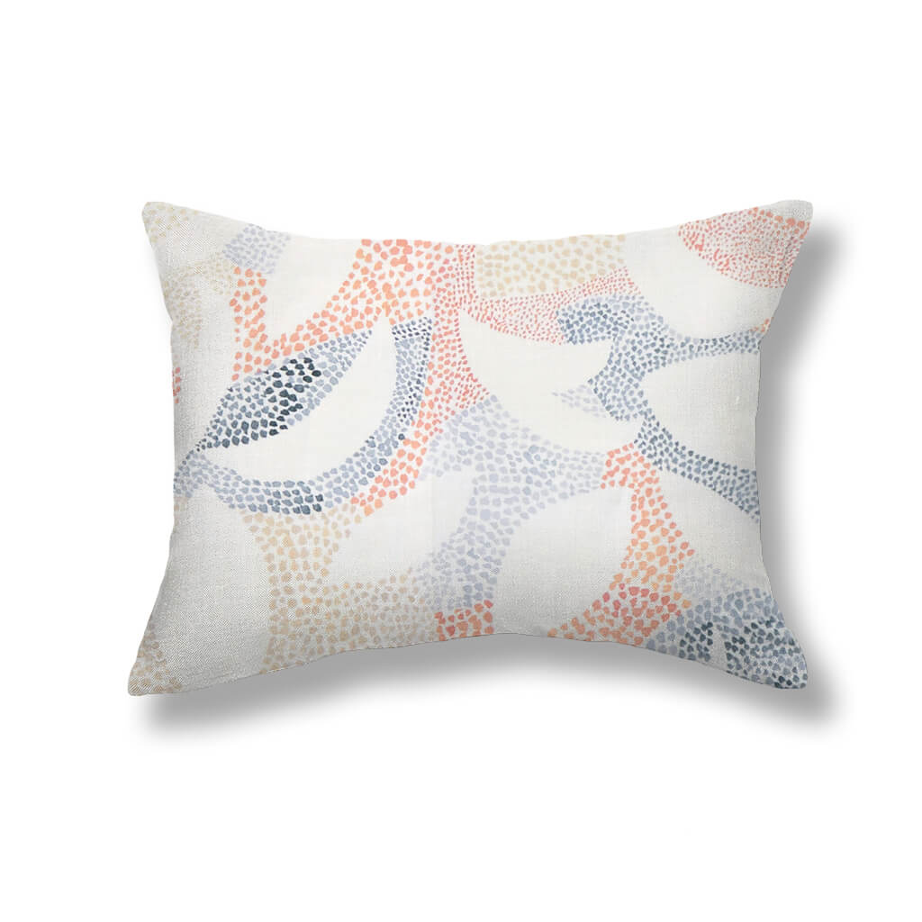 Dotted Leaves Pillows in Peach / Blue