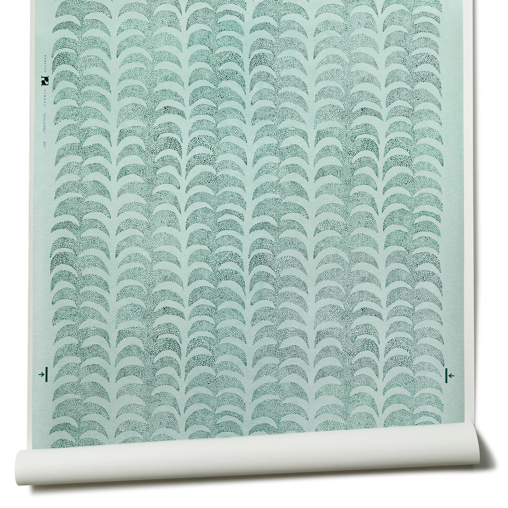 Dotted Palm Wallpaper in Ice Mint/ Deep Marine