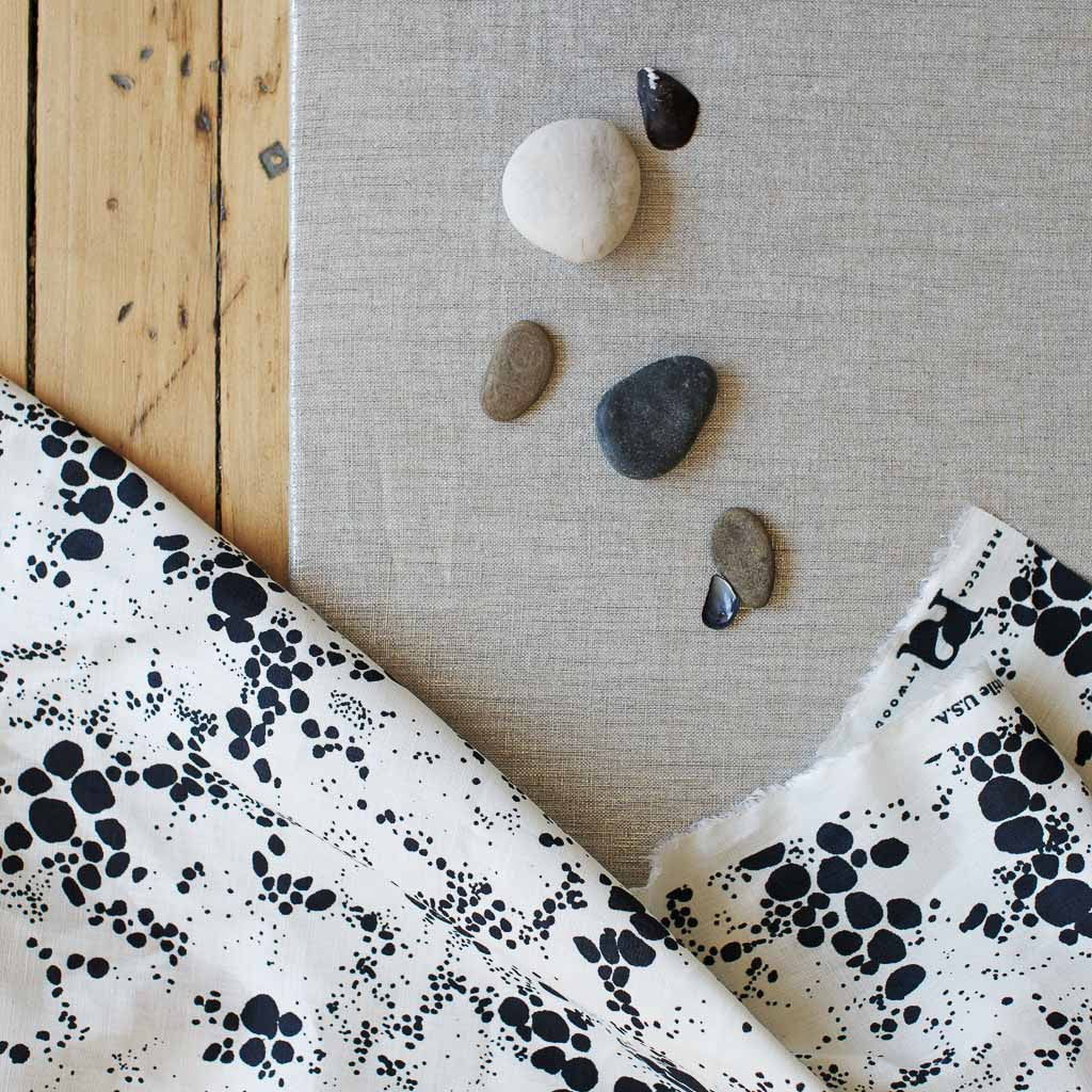 Spots Fabric in Midnight Black