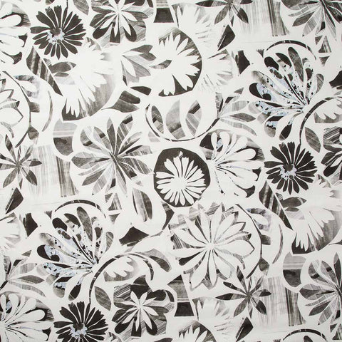 Floral Collage Fabric in Charcoal Black