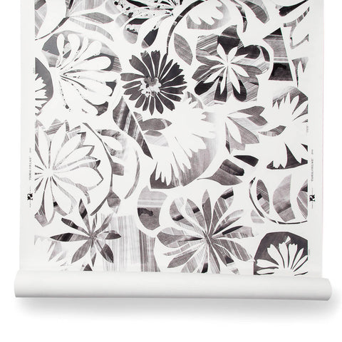 Floral Collage Wallpaper in Inkwash