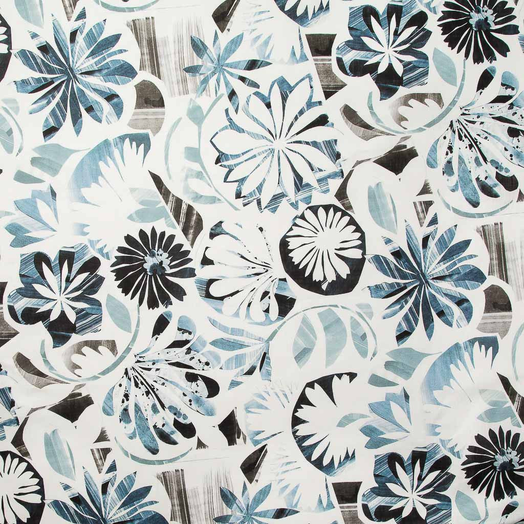 Floral Collage Fabric in Multi Blue