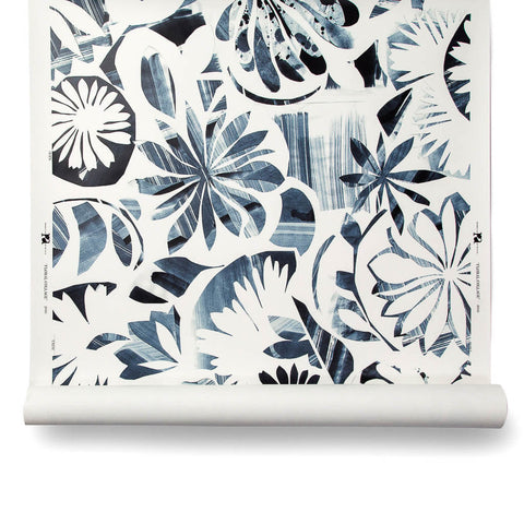 Floral Collage Wallpaper in Navy