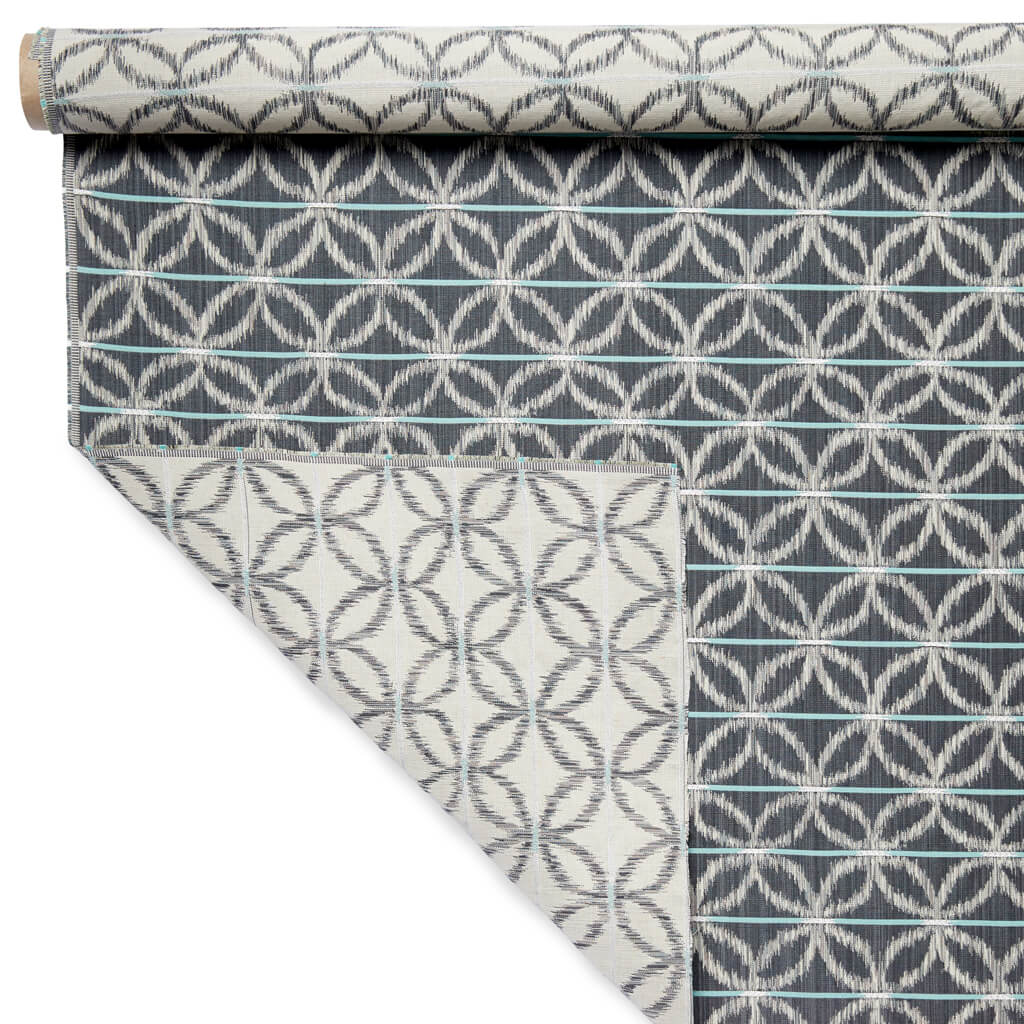 Floral Ikat Fabric in Charcoal Green