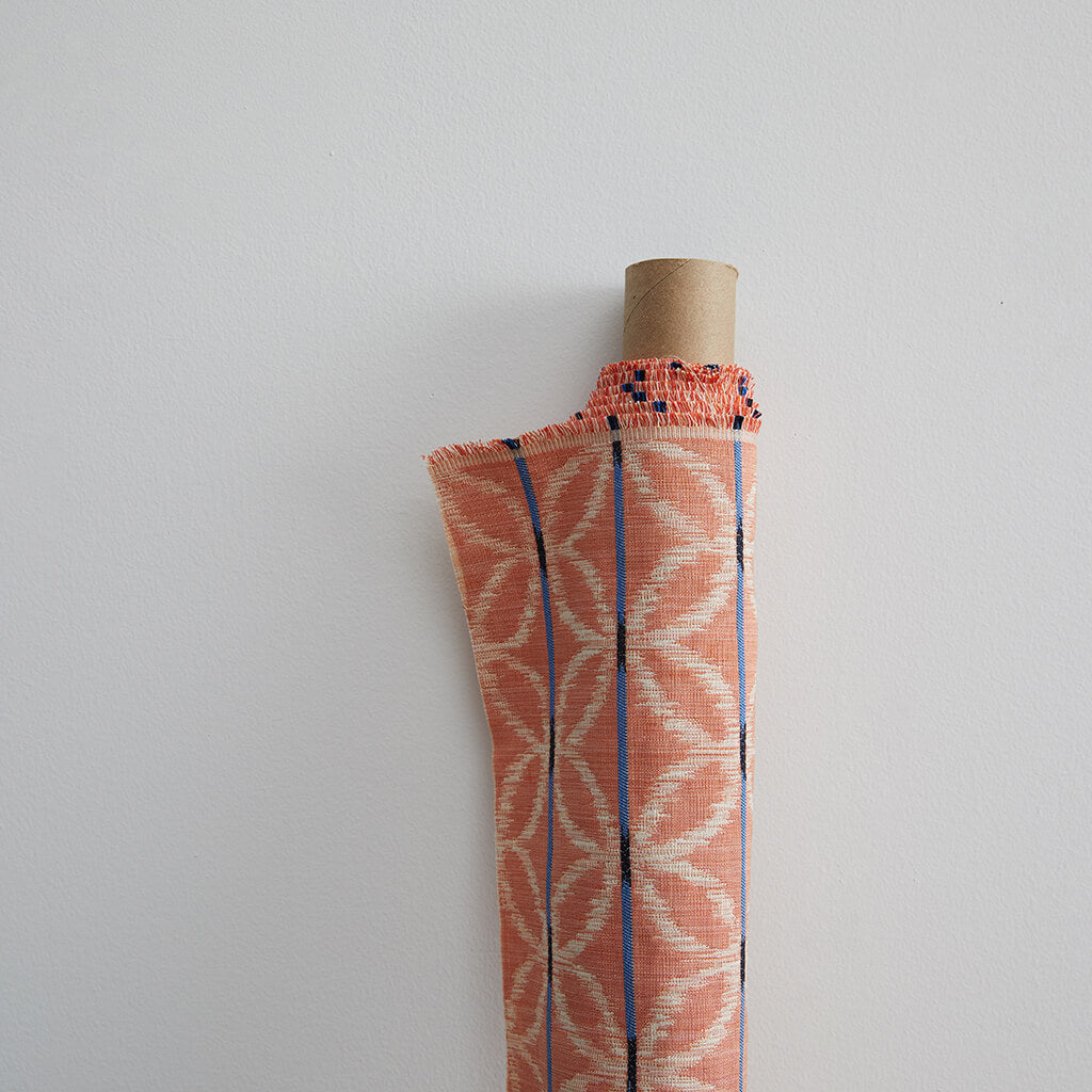 Floral Ikat Fabric in Tangerine/Blue