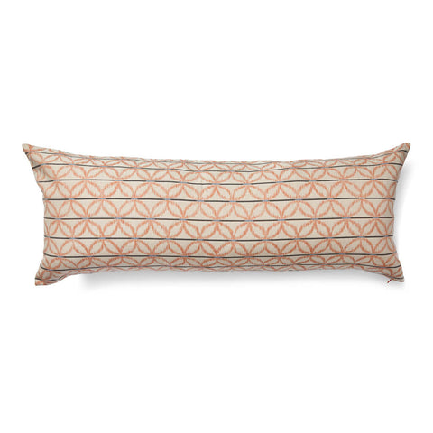 Floral Ikat Lumbar Pillow Cover in Tangerine/Blue