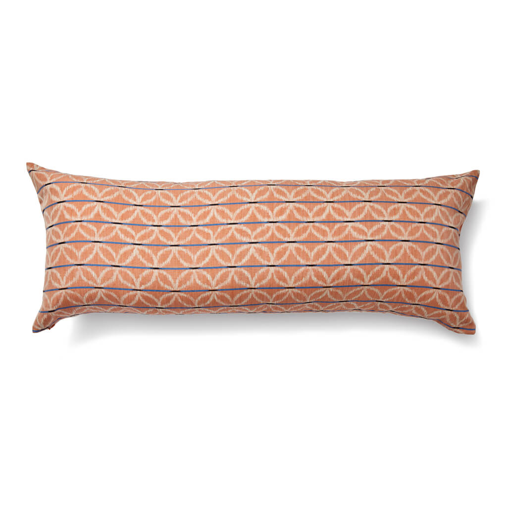 Floral Ikat Lumbar Pillow in Tangerine/Blue
