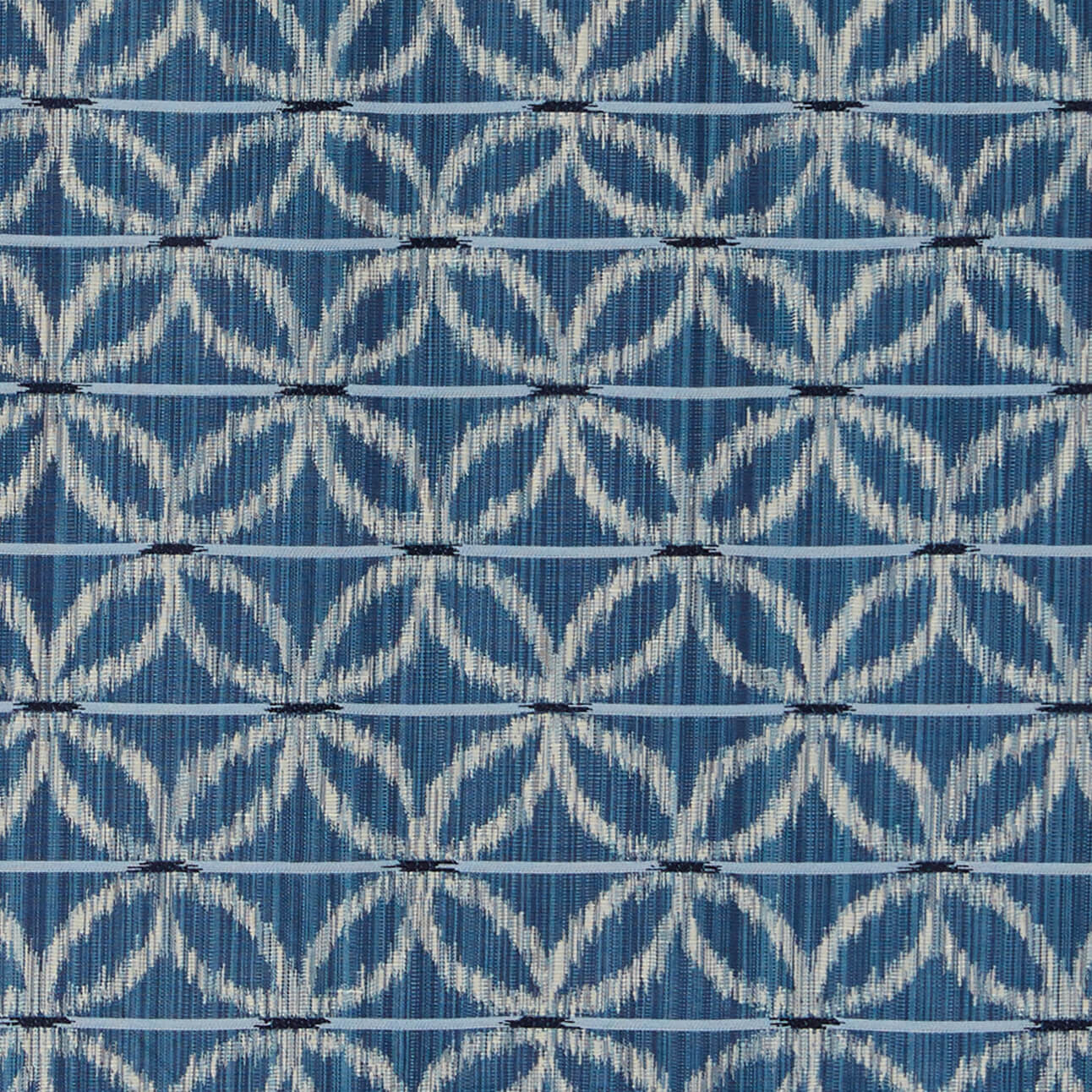 Floral Ikat Fabric in Ocean Blue