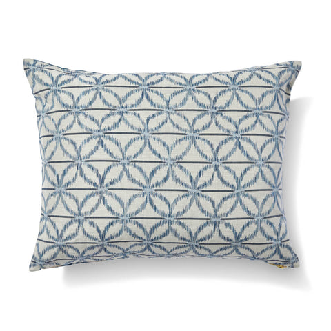 Floral Ikat Pillow in Ocean Blue