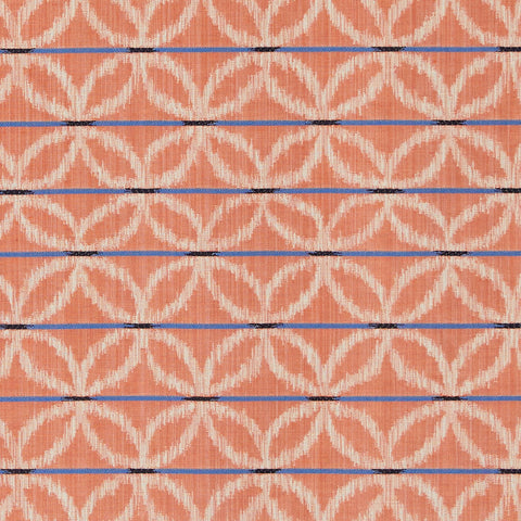 Floral Ikat Fabric in Tangerine / Blue