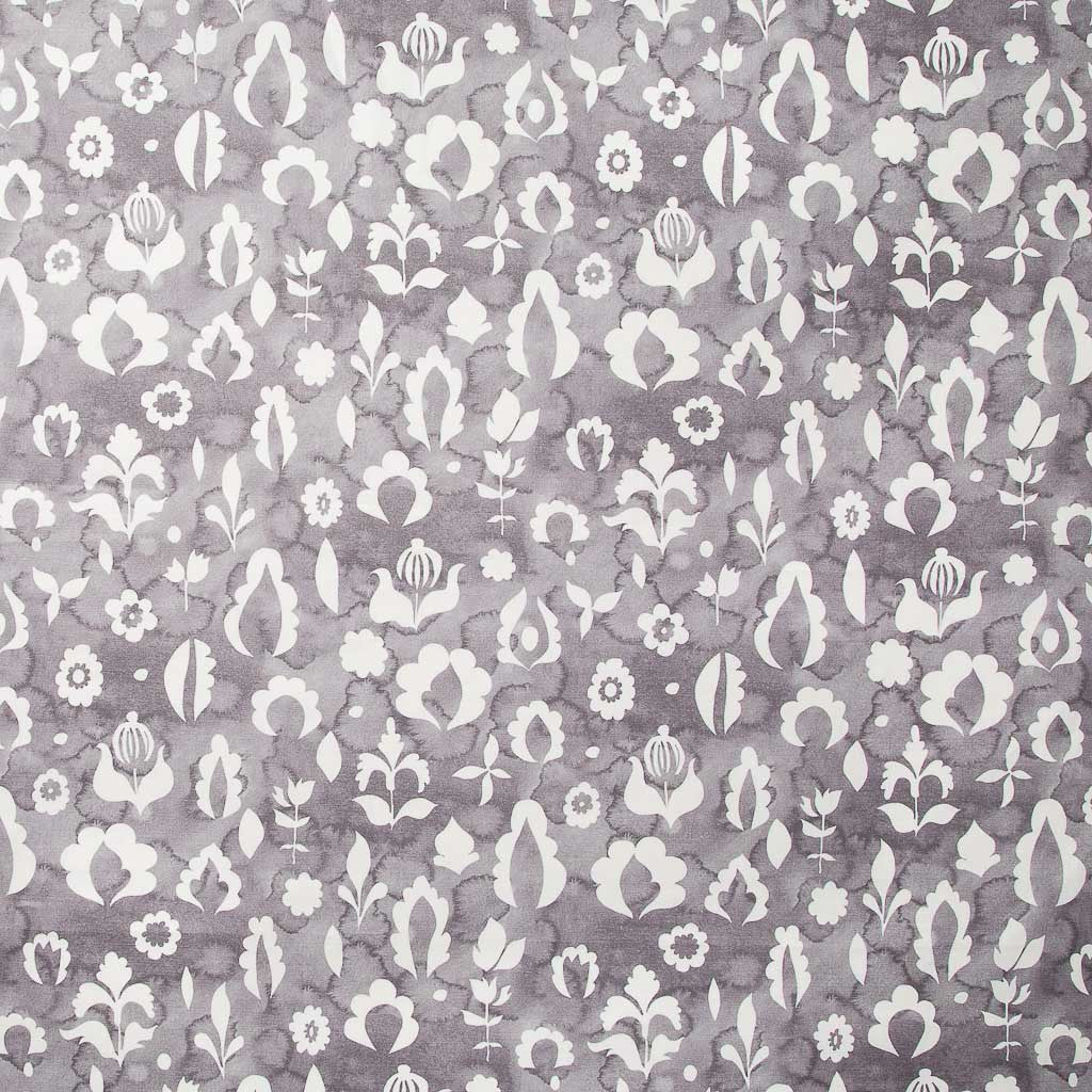 Floral Medallions II Fabric in Gray-lilac
