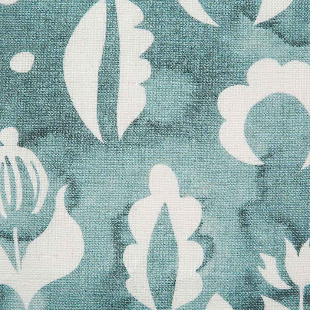 Floral Medallions II Fabric in Lagoon