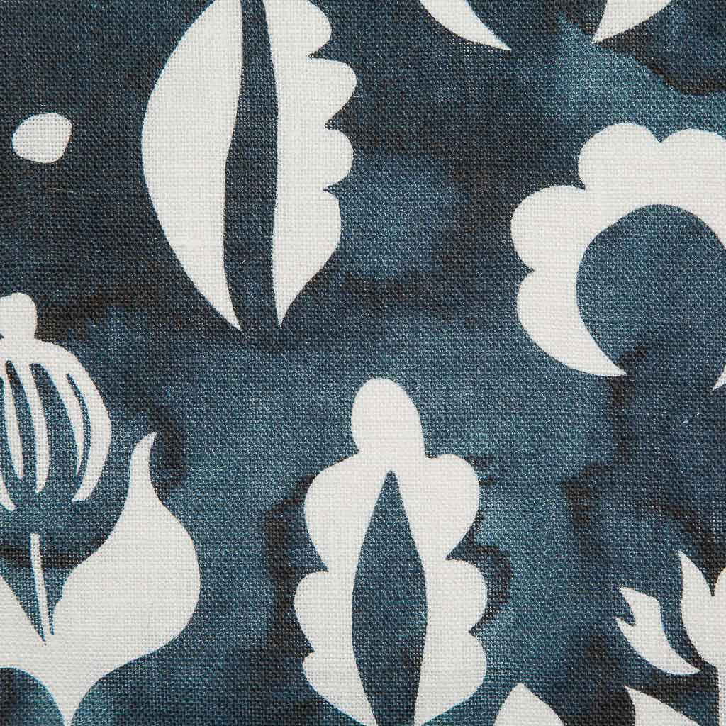 Floral Medallions II Fabric in Navy