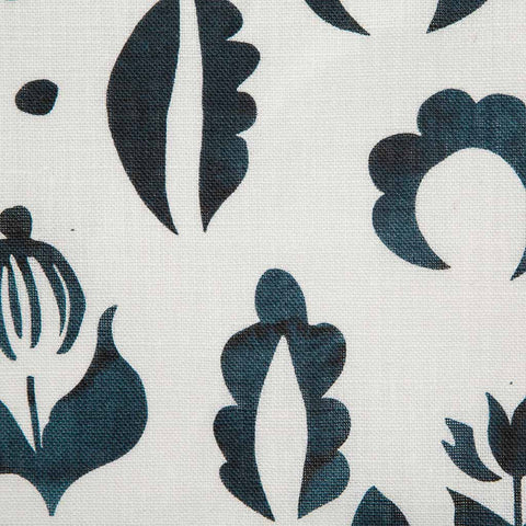 Floral Medallions I Fabric in Navy
